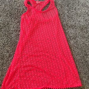 Neon pink mesh swim cover up